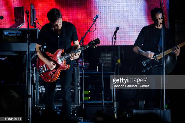 Robert Del Naja of the Massive Attack performs on stage at Palalottomatica on February 8 2019 in Rome Italy