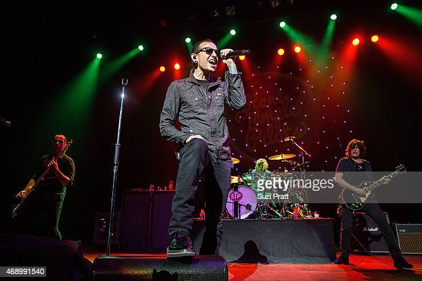 Robert DeLeo Chester Bennington Eric Kretz and Dean DeLeo of Stone Temple Pilots perform at Paramount Theatre on April 8 2015 in Seattle Washington