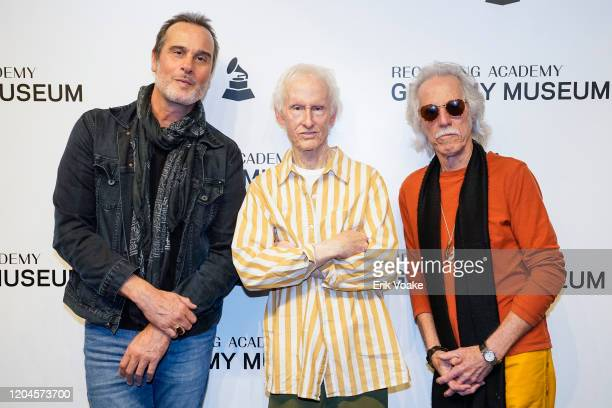 Robert DeLeo from Stone Temple Pilots with Robby Krieger and John Densmore of The Doors at The GRAMMY Museum on February 06 2020 in Los Angeles...