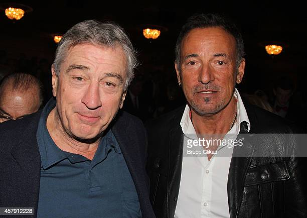 Robert DeNiro and Bruce Springsteen pose at The Opening Night of The Last Ship on Broadway at The Neil Simon Theatre on October 26 2014 in New York...