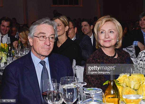 Robert DeNiro and Former Secretary of State Hillary Clinton attend the The East Harlem School 2013 Fall Benefit Honoring Susan And Alan Patricof on...