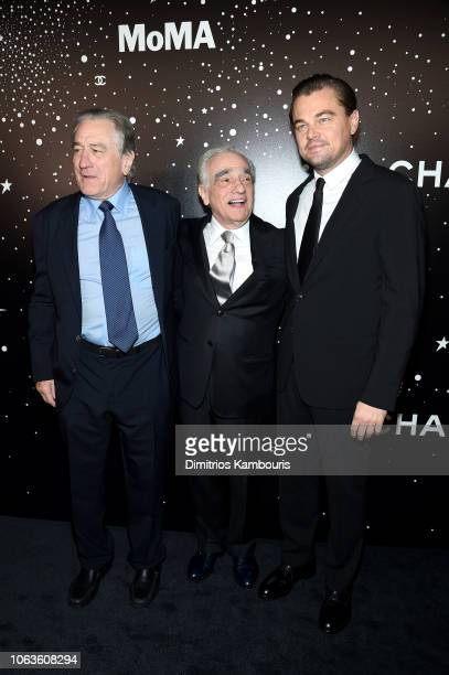 Robert DeNiro Martin Scorsese and Leonardo DiCaprio attend The Museum Of Modern Art Film Benefit Presented By CHANEL A Tribute To Martin Scorsese on...