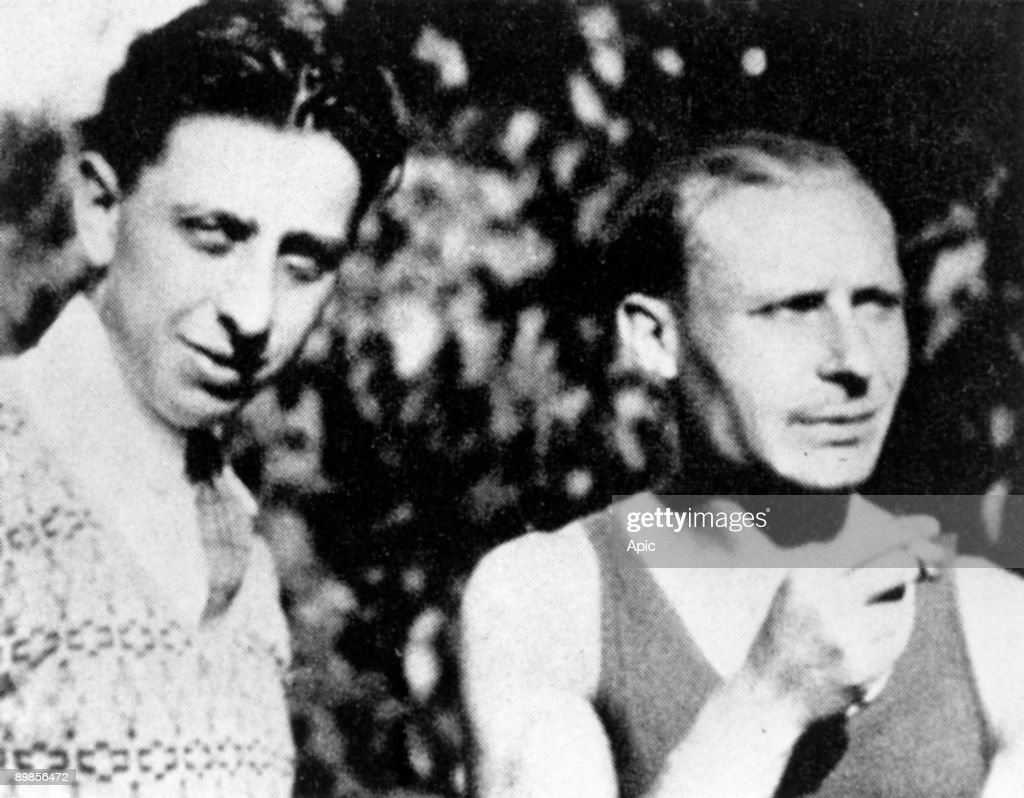 Robert Desnos (l, 1900-1945) french surrealist poet and writer, here with painter Andre Masson (1896-1987) c. 1940;;