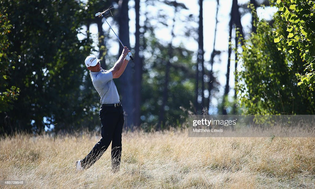 Robert Dinwiddie of England plays out of the rough on the 15th hole during day three of the D+D Real Czech Masters at Albatross Golf Resort on August 29, 2015 in Prague, Czech Republic.