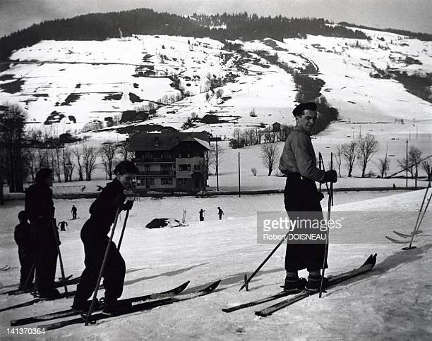 Robert Doisneau and his wife Pierrette skiing in Megeve 1936 in France