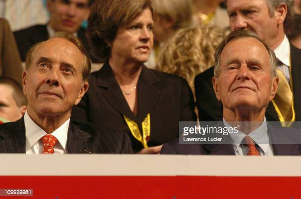 Robert Dole and George H W Bush during 2004 Republican National Convention Day 2 Inside at Madison Square Garden in New York City New York United...