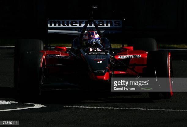 Robert Doornbos drives the Team Minardi USA Panoz DP01 during practice for the ChampCar World Series Grand Premio Tecate on November 10 2007 at the...