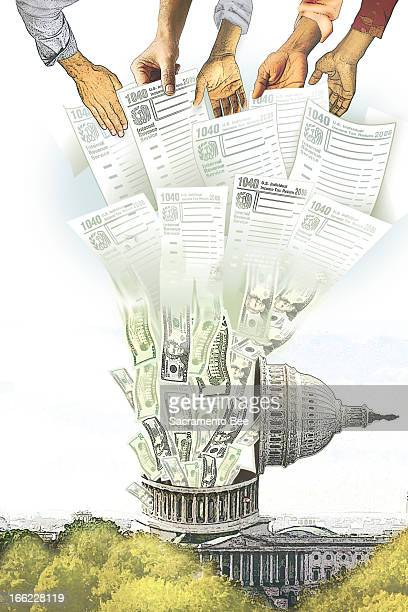 Robert Dorrell and Sharon Okada color illustration of hands holding tax forms the forms turning into money and the money then flowing into the US...