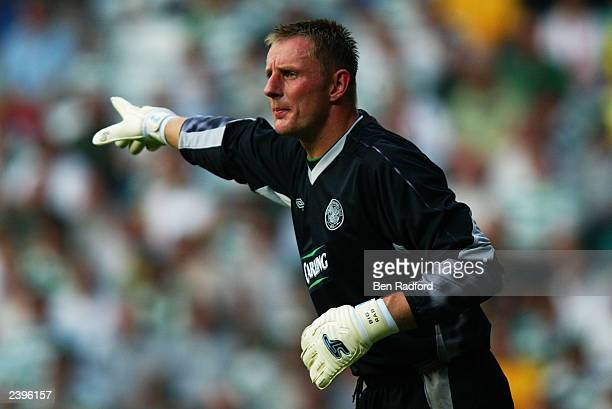 Robert Douglas of Celtic signals to a team mate during the Champion's League Qualifier between Celtic and Kaunas on August 6th 2003 at Parkhead in...