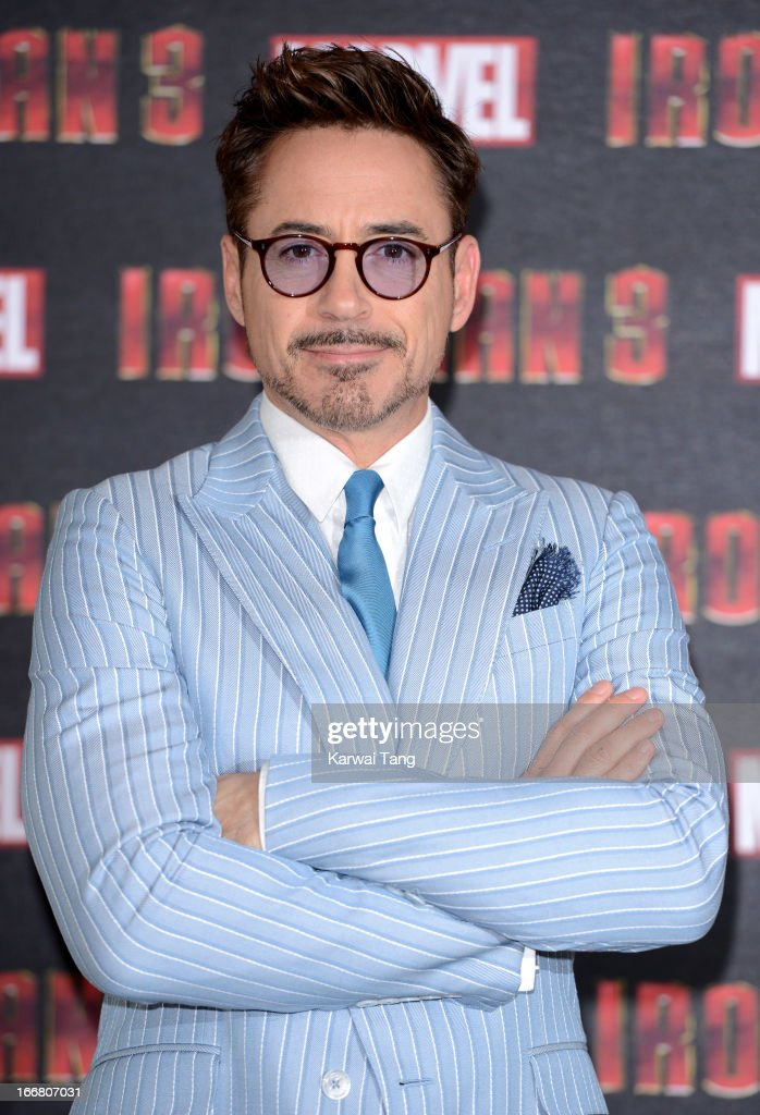 Robert Downey Jnr attends the Iron Man 3 photocall at The Dorchester on April 17, 2013 in London, England.