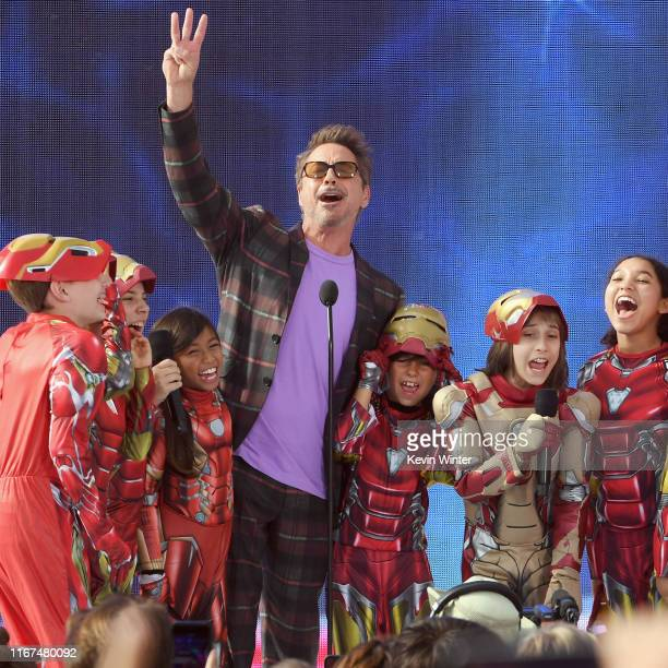Robert Downey Jr accepts Choice Action Movie Actor Award for 'Avengers Endgame' onstage during FOX's Teen Choice Awards 2019 on August 11 2019 in...
