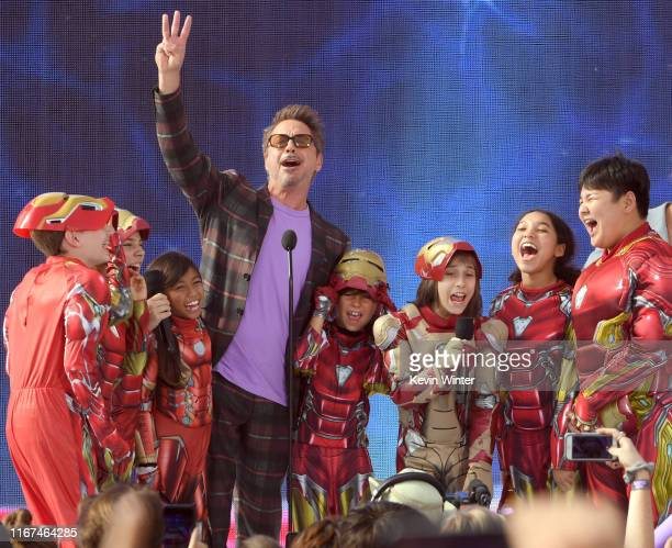 Robert Downey Jr accepts Choice Action Movie Actor for 'Avengers Endgame' onstage during FOX's Teen Choice Awards 2019 on August 11 2019 in Hermosa...