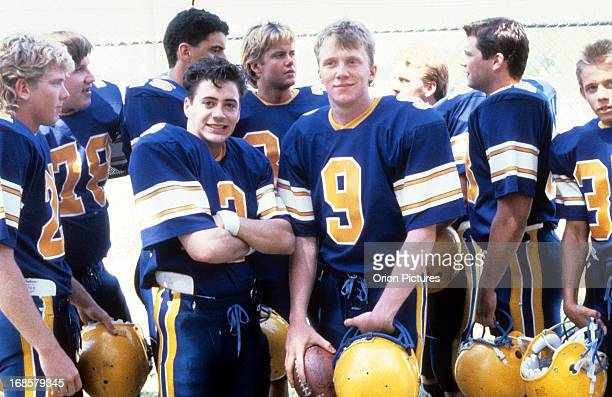Robert Downey Jr and Anthony Michael Hall on set of the film 'Johnny Be Good' 1988
