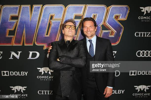 Robert Downey Jr and Bradley Cooper attend the Los Angeles World Premiere of Marvel Studios' Avengers Endgame at the Los Angeles Convention Center on...
