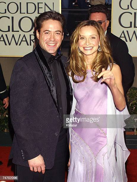Robert Downey Jr and Calista Flockhart during The 58th Annual Golden Globe Awards Arrivals at the Beverly Hilton Hotel in Los Angeles CA