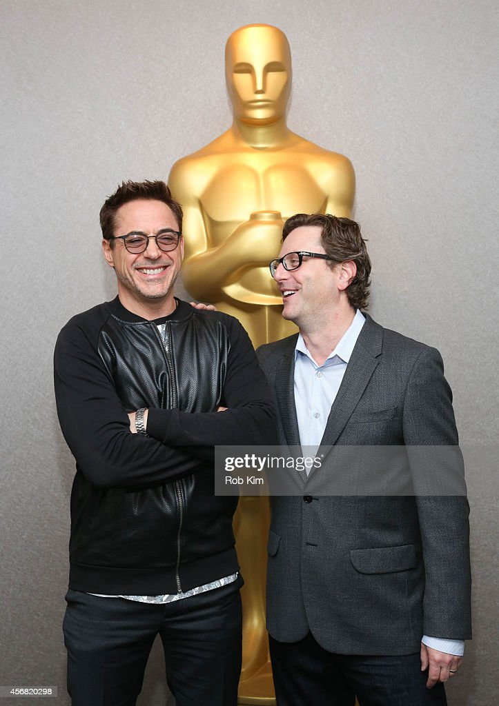 Robert Downey Jr. (L) and director David Dobkin attend the official Academy Members Screening of 'The Judge' hosted by The Academy Of Motion Picture Arts And Sciences at the Academy Theater at Lighthouse International on October 7, 2014 in New York City.