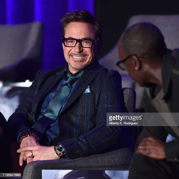 Robert Downey Jr and Don Cheadle speak onstage during Marvel Studios' Avengers Endgame Global Junket Press Conference at the InterContinental Los...
