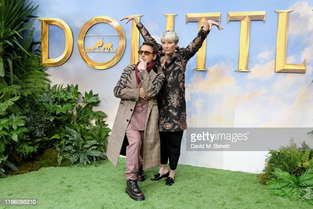 """Robert Downey Jr. And Emma Thompson attend a special screening of """"Dolittle"""" at Cineworld Leicester Square on January 25, 2020 in London, England."""