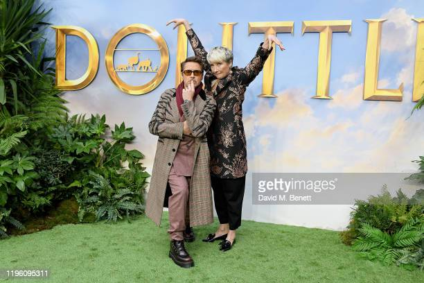 Robert Downey Jr and Emma Thompson attend a special screening of Dolittle at Cineworld Leicester Square on January 25 2020 in London England