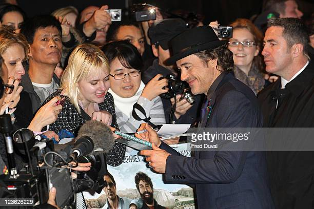 Robert Downey Jr and fans arrives at the European premiere of 'Due Date' at Empire Leicester Square on November 3 2010 in London England