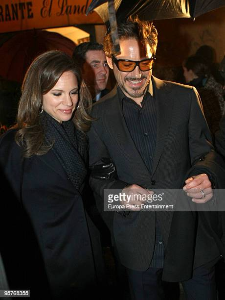 Robert Downey Jr and his wife producer Susan Levin are sighted heading out for dinner with the cast of 'Sherlock Holmes' The cast are in Spain to...