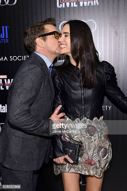 Robert Downey Jr and Jennifer Connelly attend the screening Of Marvel's 'Captain America Civil War' hosted by The Cinema Society with Audi FIJI at...