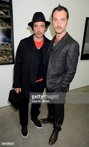Robert Downey Jr and Jude Law attend the private view of Sam Taylor Wood's new exhibition 'Yes I No' at the White Cube Gallery on October 23 2008 in...
