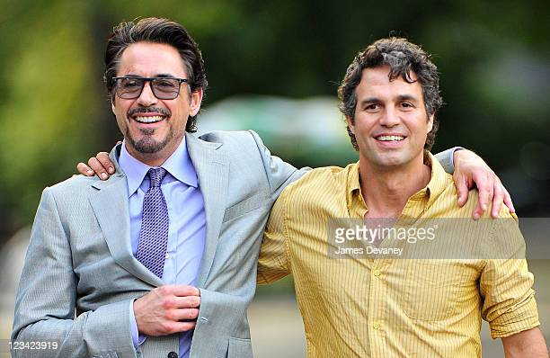 Robert Downey Jr and Mark Ruffalo filming on location for The Avengers in Central Park on September 2 2011 in New York City