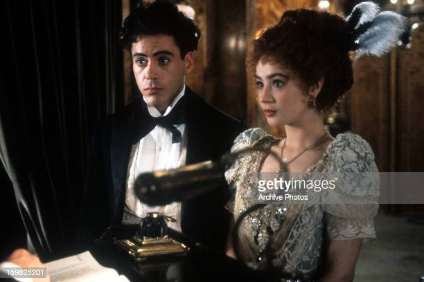 Robert Downey Jr and Moira Kelly in a scene from the film 'Chaplin' 1992