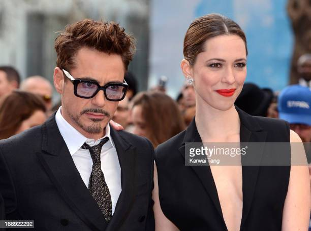 Robert Downey Jr and Rebecca Hall attends a special screening of 'Iron Man 3' at Odeon Leicester Square on April 18 2013 in London England