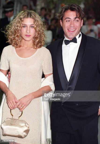 "Robert Downey Jr. And Sarah Jessica Parker attend the London premiere of ""L.A. Story"" on May 10, 1991 in London, Great Britain."