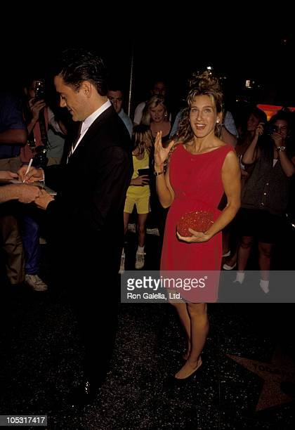 Robert Downey Jr and Sarah Jessica Parker during 'Out There Tonight' Opening Night at Pantages Theatre in Hollywood California United States