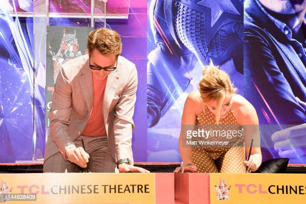 Robert Downey Jr and Scarlett Johansson poses at the Marvel Studios' 'Avengers Endgame' Cast Place Their Hand Prints In Cement At TCL Chinese Theatre...