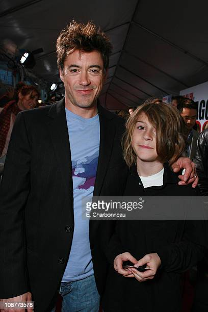 Robert Downey Jr and son Indio during Los Angeles Premiere of Walt Disney Pictures' 'The Shaggy Dog' at El Capitan Theatre in Hollywood California...