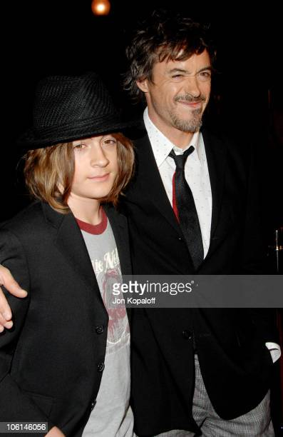 Robert Downey Jr and son Indio during 'Zodiac' Los Angeles Premiere Arrivals at Paramount Theatre in Hollywood California United States