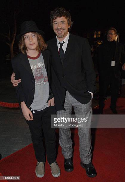 Robert Downey Jr and son Indio during Zodiac Los Angeles Premiere Arrivals at Paramount Studios in Hollywood California United States