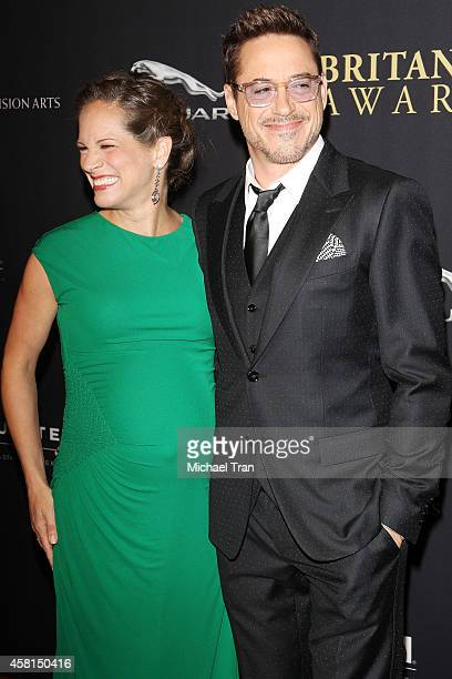 Robert Downey Jr. And Susan Downey arrive at the BAFTA Los Angeles Jaguar Britannia Awards held at The Beverly Hilton Hotel on October 30, 2014 in...