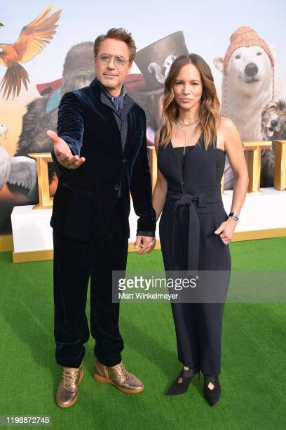 """Robert Downey Jr. And Susan Downey attend the Premiere of Universal Pictures' """"Dolittle"""" at Regency Village Theatre on January 11, 2020 in Westwood,..."""