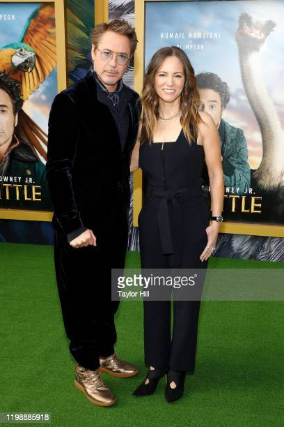 """Robert Downey Jr. And Susan Downey attend the world premiere of """"Dolittle"""" at Regency Village Theatre on January 11, 2020 in Westwood, California."""