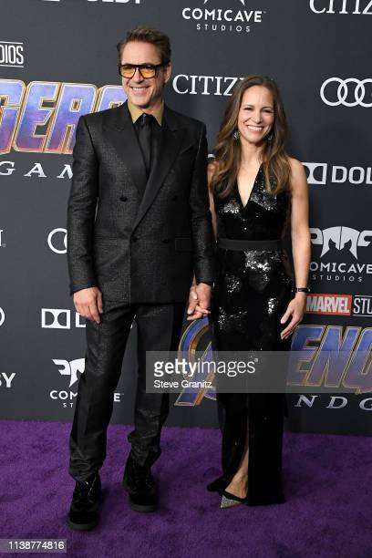 """Robert Downey Jr. And Susan Downey attend the world premiere of Walt Disney Studios Motion Pictures """"Avengers: Endgame"""" at the Los Angeles Convention..."""
