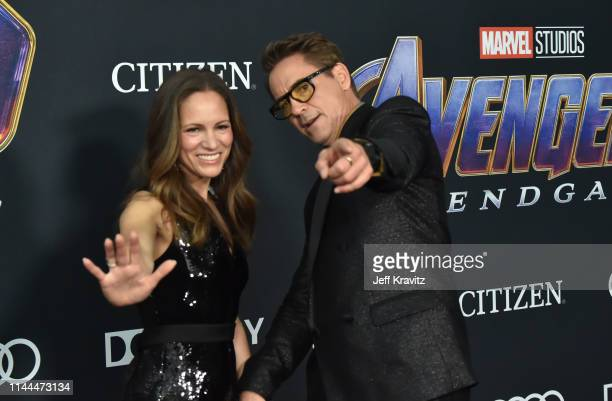 """Robert Downey Jr. And Susan Downey attend the World Premiere of Walt Disney Studios Motion Pictures """"Avengers: Endgame"""" at Los Angeles Convention..."""