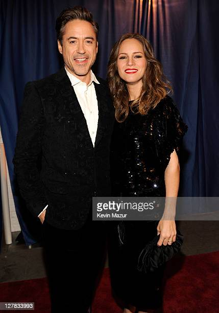 Robert Downey Jr. And Susan Downey backstage during STING: 25th Anniversary/60th Birthday Concert to Benefit Robin Hood Foundation at Beacon Theatre...