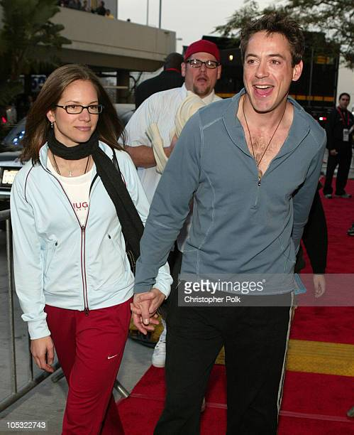 Robert Downey Jr and wife during NBA AllStar Game Arrivals at Staples Center in Los Angeles California United States