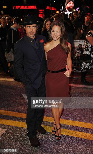 Robert Downey Jr and wife Susan Downey arrives at the European premiere of 'Due Date' at Empire Leicester Square on November 3 2010 in London England