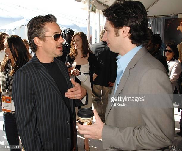 Robert Downey Jr and Zach Braff during 2007 Film Independent's Spirit Awards Backstage at Santa Monica Pier in Santa Monica California United States