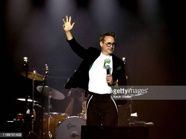 Robert Downey Jr announces NASA's Mars InSight lander team has named a rock Rolling Stones Rock on Mars at The Rolling Stones concert at Rose Bowl on...