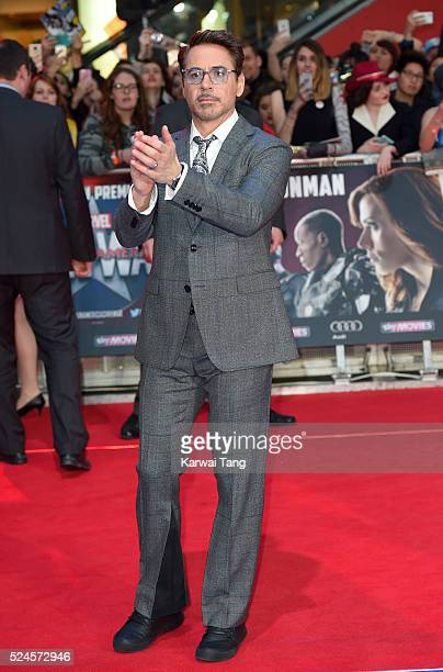 Robert Downey Jr arrives for the European film premiere of 'Captain America Civil War' at Vue Westfield on April 26 2016 in London England