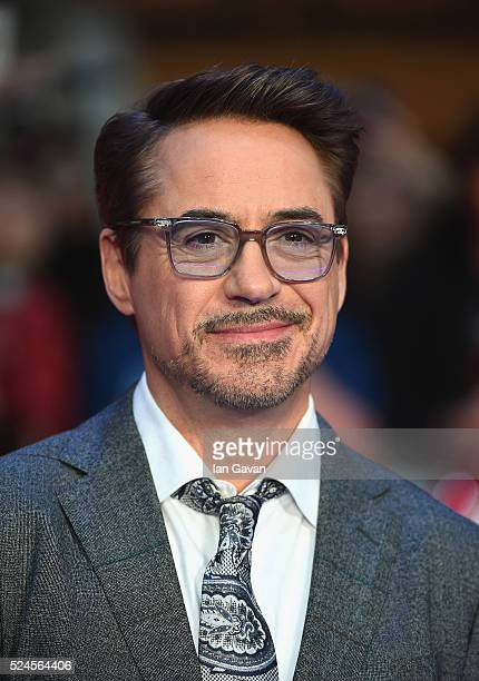 Robert Downey Jr arrives for UK film premiere 'Captain America Civil War' at Vue Westfield on April 26 2016 in London England