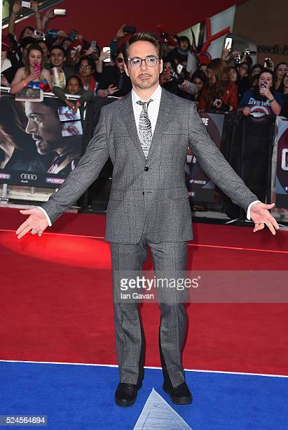 Robert Downey Jr arrives for UK film premiere Captain America Civil War at Vue Westfield on April 26 2016 in London England