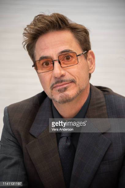 "Robert Downey Jr. At the ""Avengers: Endgame"" Press Conference at the InterContinental Hotel on April 07, 2019 in Los Angeles, California."